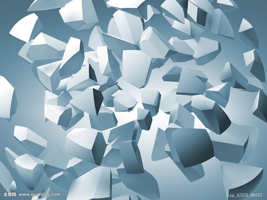 抽象,插画,飞,白色,碎片,大,球体,蓝色背景,背景图片