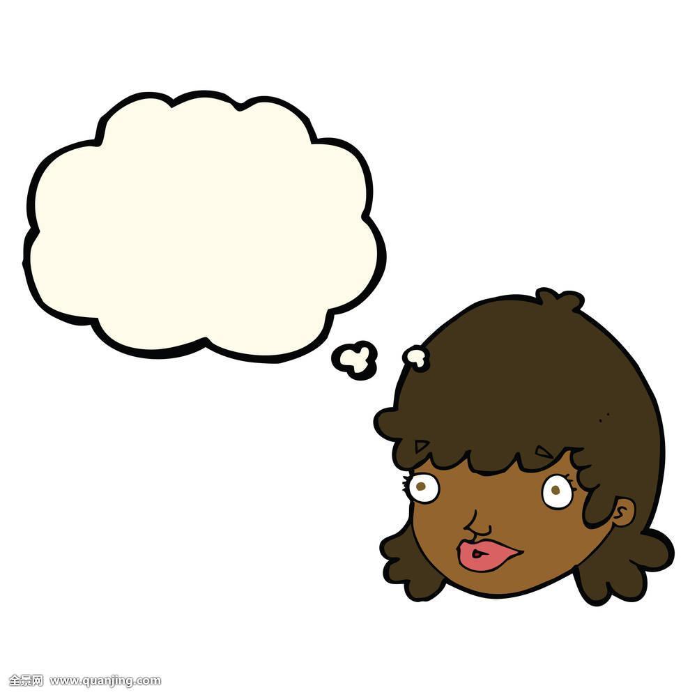卡通,女性,脸,吃惊,表情,思考,泡泡图片