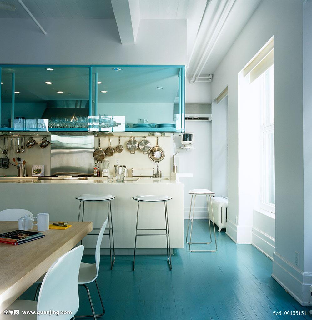 厨房,一个,尾端,就餐区,玻璃,架子,不锈钢图片