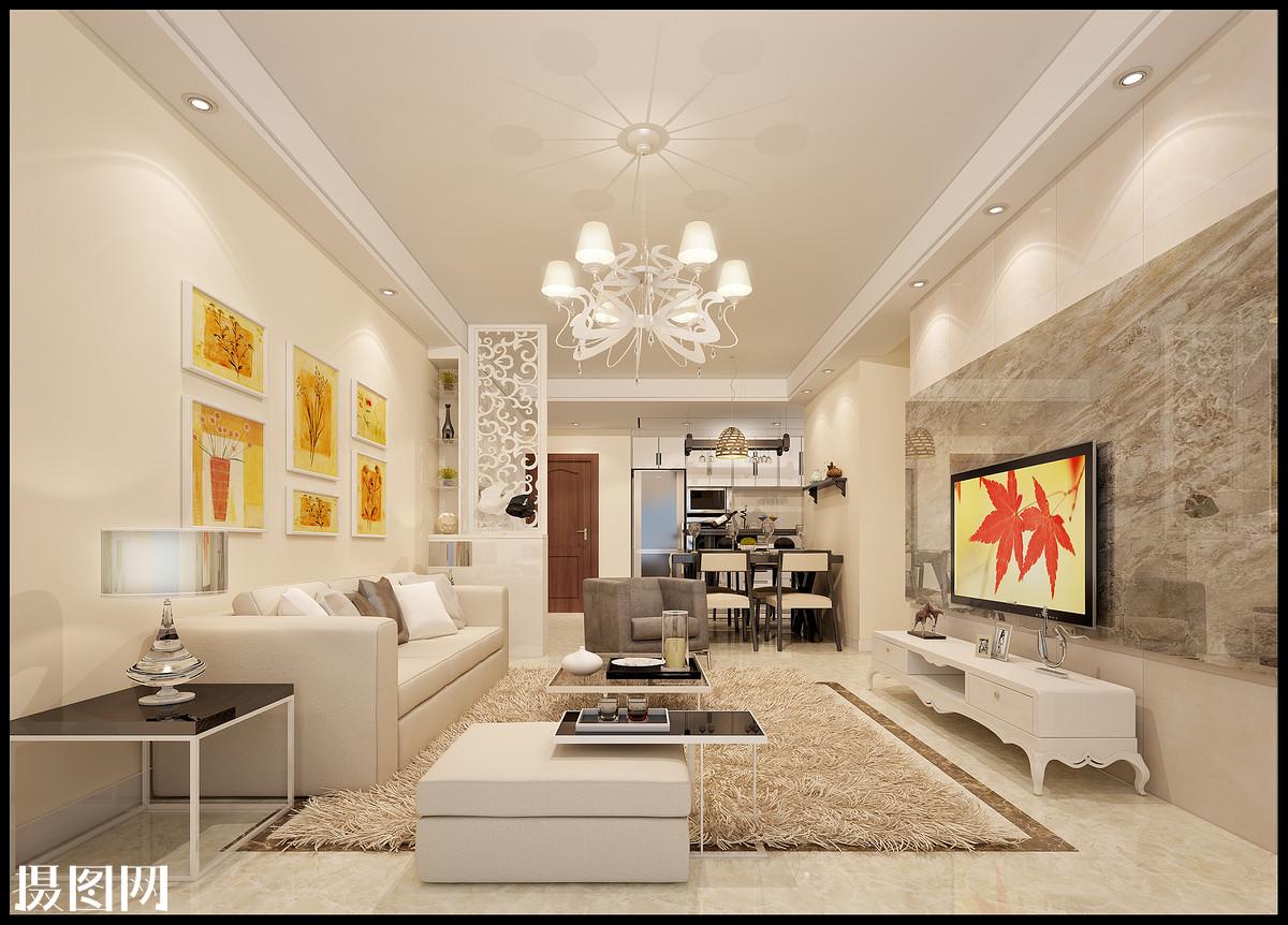 装修,设计,墙砖背景墙,客厅颜色搭配,客厅吊顶,客厅铺砖,单层石膏线走图片