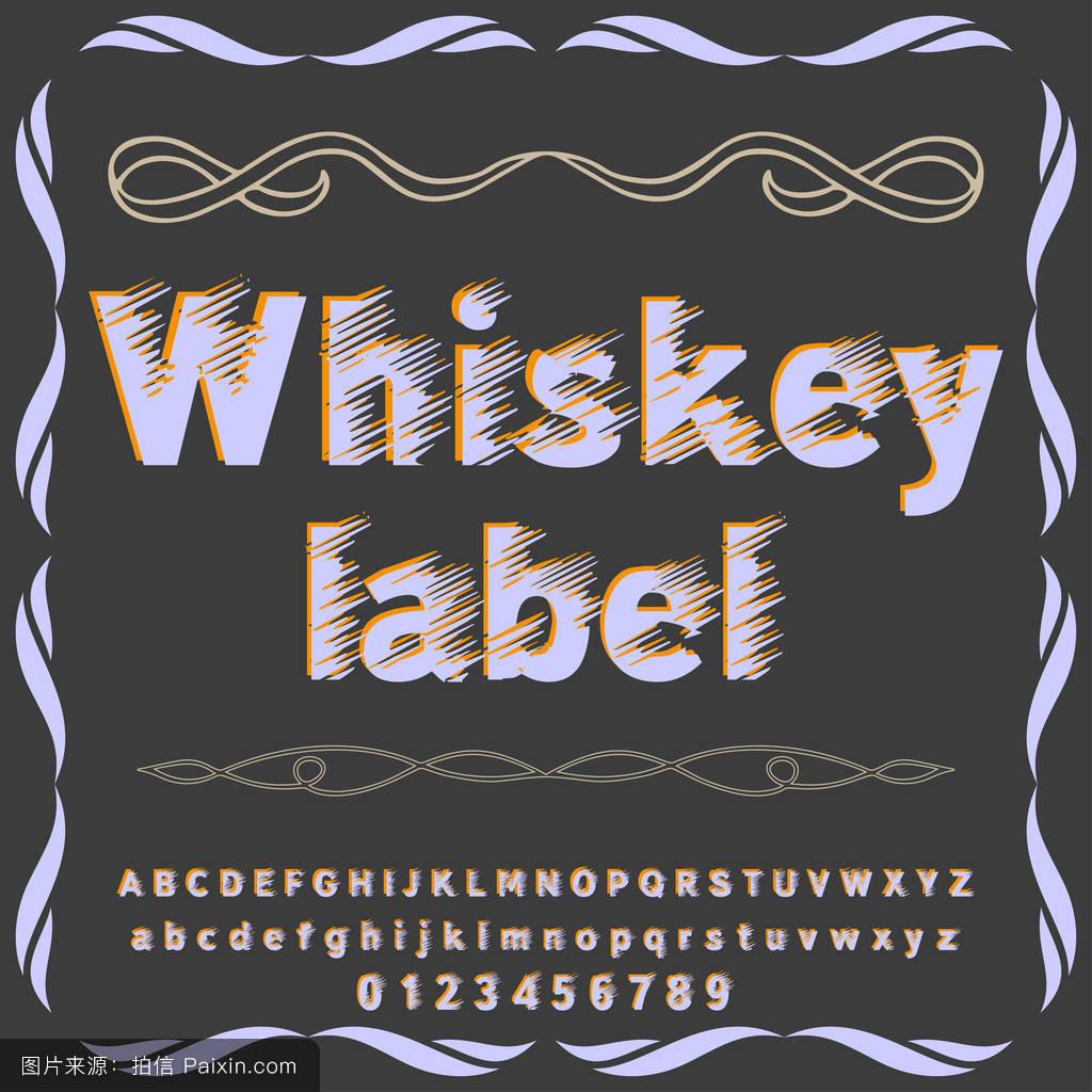 字体字体威士忌威士忌标签手稿字体字体标签和任何字体设计矢量字体图片
