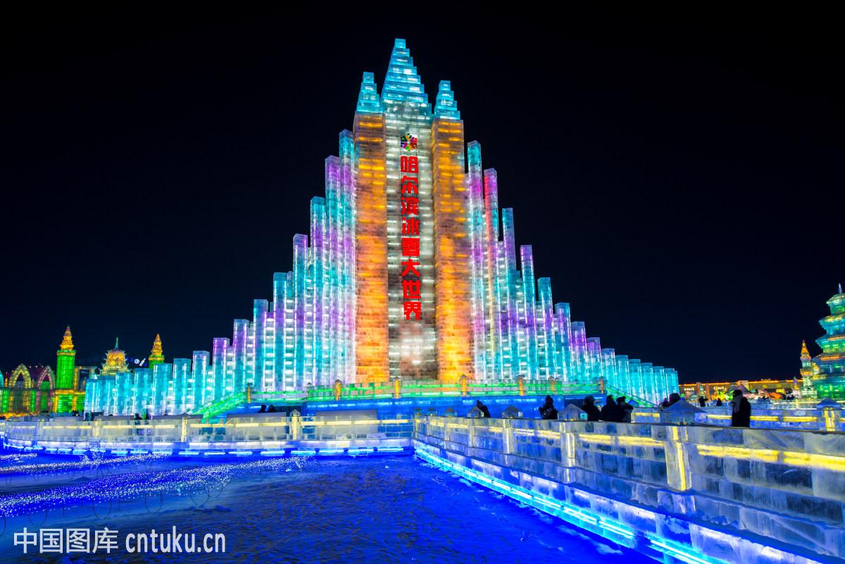 中国,哈尔滨,黑龙江,建筑,巨像,透明,夜晚,威严,漂亮,庄严,庞大的图片