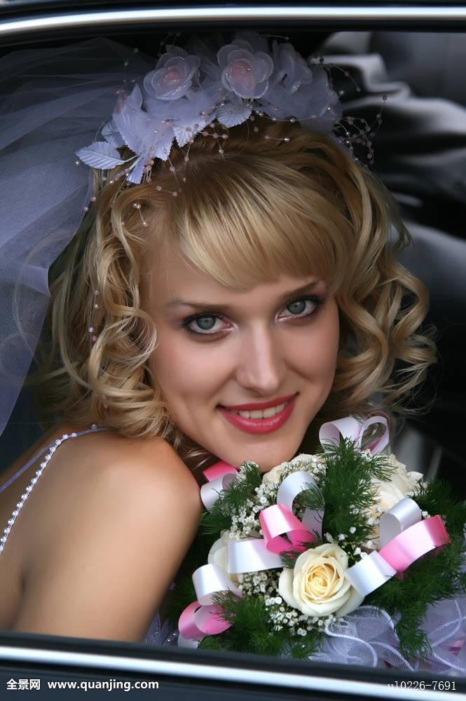 汽车,美女,美,金发,花束,新娘,智慧,白人,仪式,亲密,特写,皇冠,欧洲图片