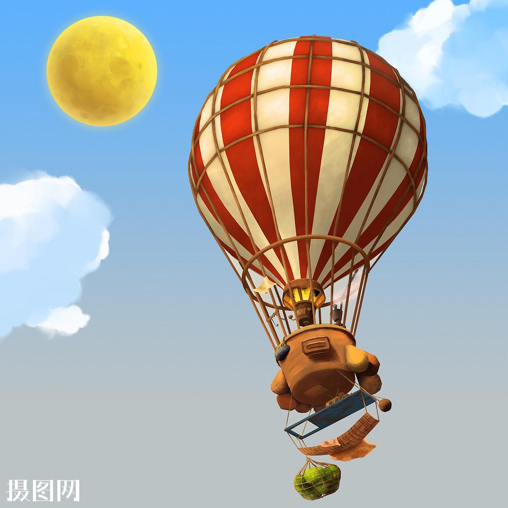 创意手绘-热气球飞行在天空图片