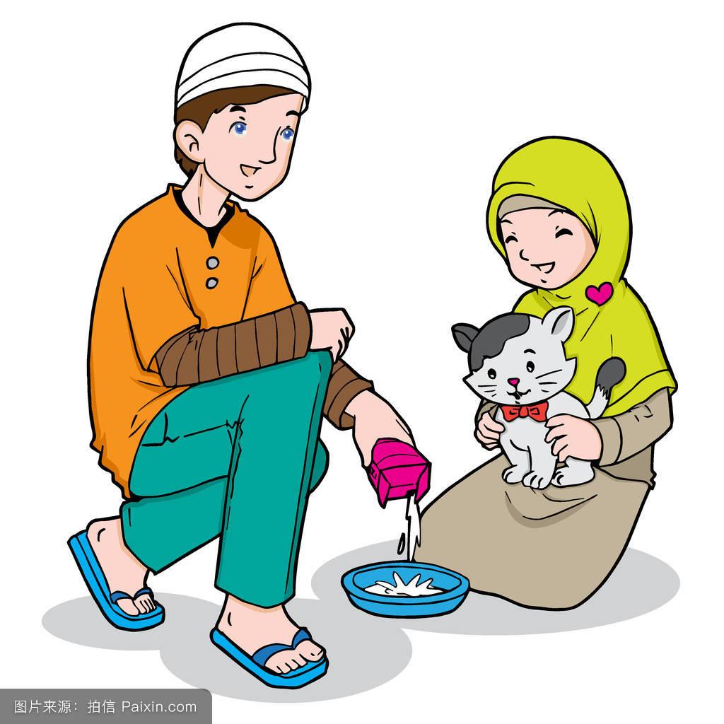 牛奶幸福的可爱的喝朋友坐宠物女孩阿拉伯的矢量乐于助人的