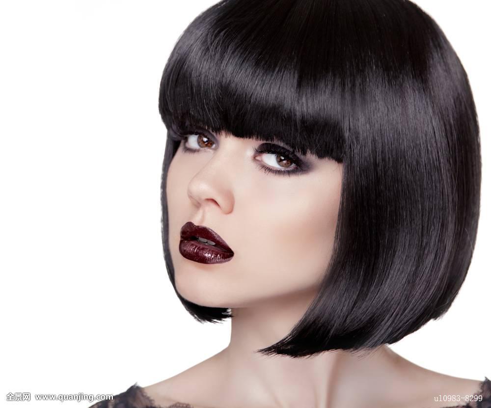 时尚,黑发,女孩,黑色,健康,头发,短发,化妆 (1000x831)图片