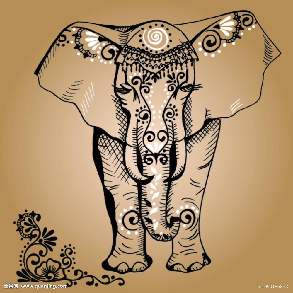 印度 大象 纹身分享展示图片