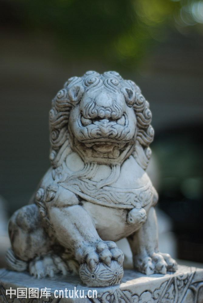 石狮子特写图片