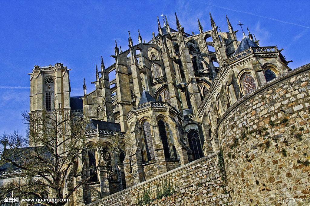 蓝天,大教堂,教堂,欧洲,法国,好天气,哥特式,历史,地标,勒芒,中世纪图片
