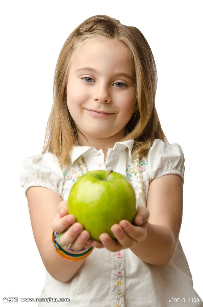 绿色,苹果,水果,健康,吃,营养,可爱,魅力,婴儿,背景,美女,美,休闲,白图片