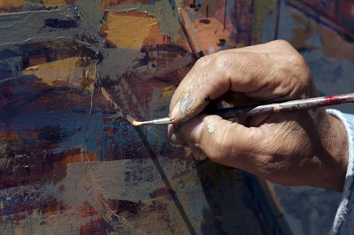 画家工作肮脏的乐趣美术绘画彩色图片画笔水彩画颜料油画