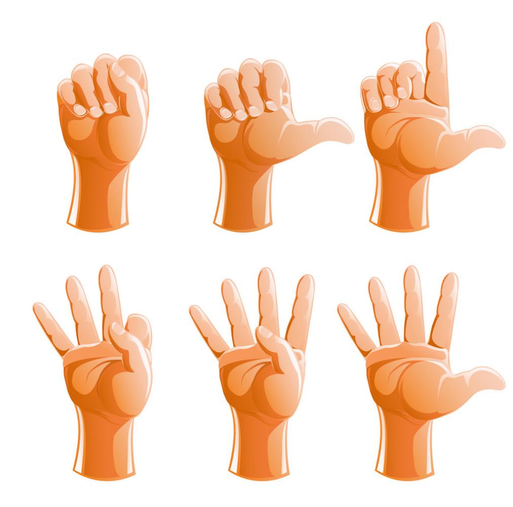 握拳,做手势,胳膊,数量,人物,三个物体,成双成对,五个物体,收集,伸图片
