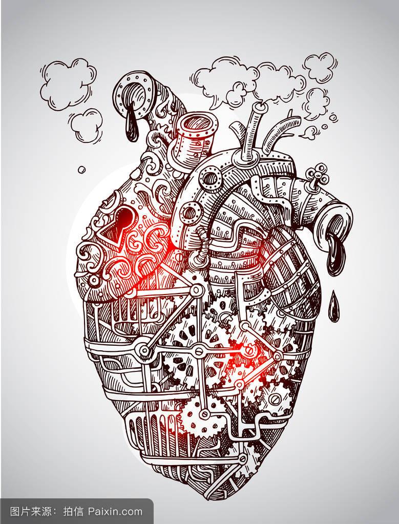 半甲机械心脏纹身分享展示图片