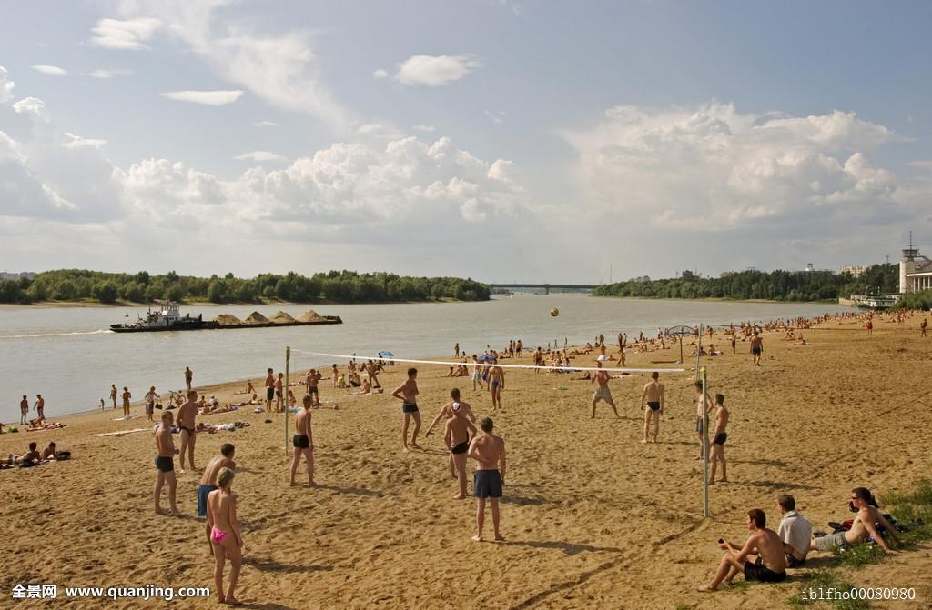 浴者,海滩,海边,沙滩排球,东方,欧洲,河,俄罗斯,俄罗斯人,西伯利亚图片