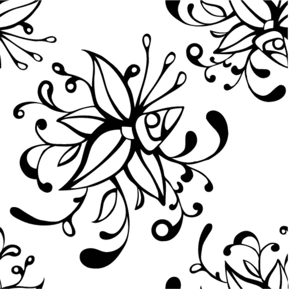 抽象花黑白插画设计自然剪影图案背景机械纹身卡光滑图片汕头大学纹理设计图片