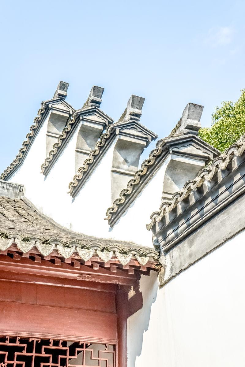 青瓦白墙灰瓦瓦沟,围墙造型,徽文化徽派建筑,墙头围墙山墙,中式围墙图片