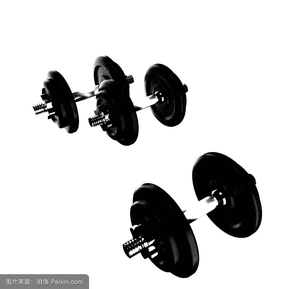 big dumbells over white background图片