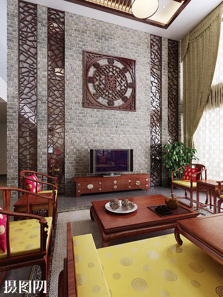 客厅,客厅效果图,新中式,中式效果图,中式,家装效果图,效果图,红色实图片