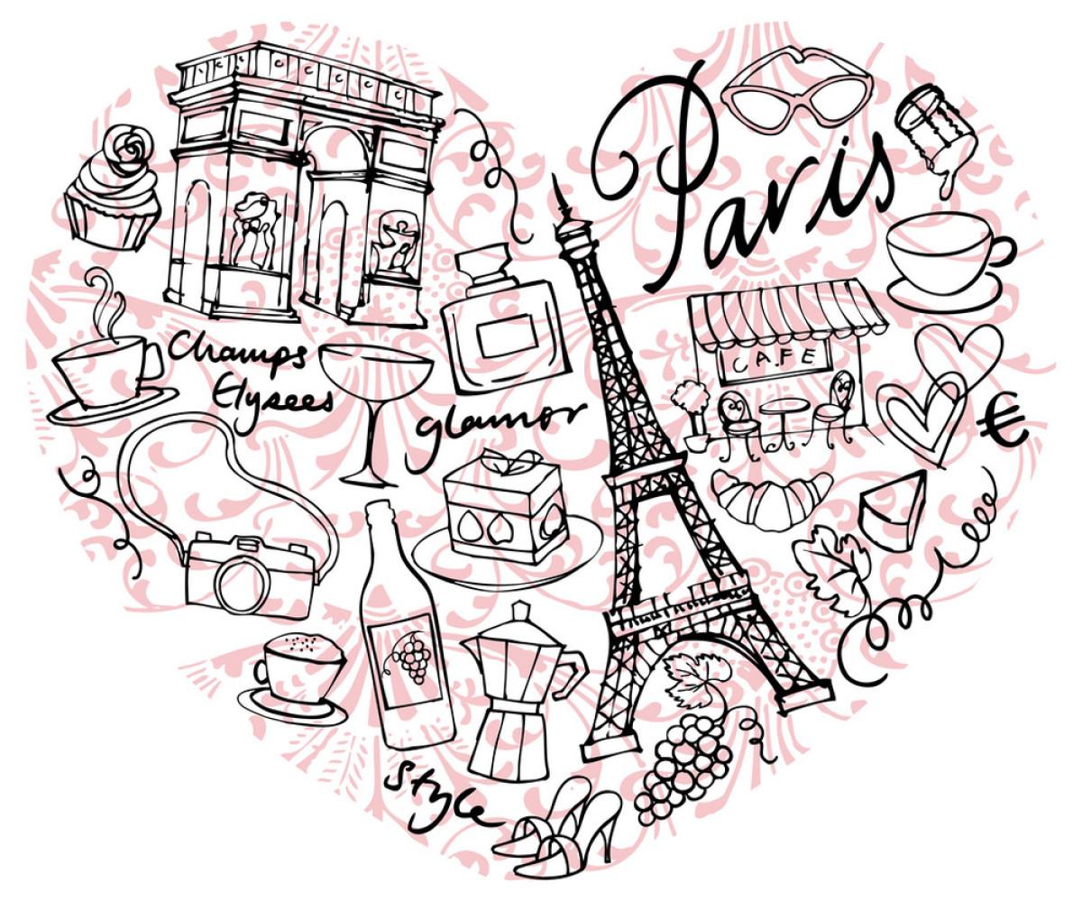 蜜月,欧洲,庆祝,热情,矢量图,塔,新月面包,饮料,葡萄酒,写生,涂鸦图片