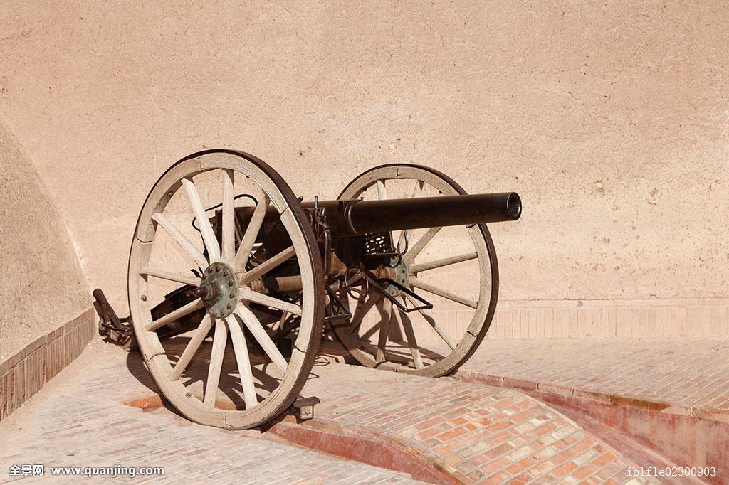 非洲大炮�9�e����e�il_老,大炮,正面,泥,砖,墙壁,瓦尔扎扎特,摩洛哥,北非,非洲