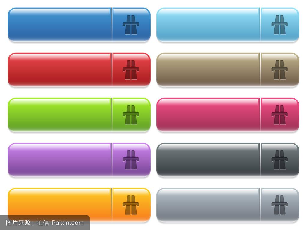 彩色菜单上的公路图标,矩形菜单按钮图片