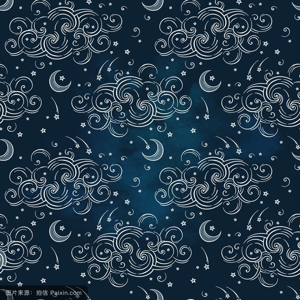 占星术,元素,无缝管,酿造的,手拉的,空间,包装,银河,打印,星空,夜图片