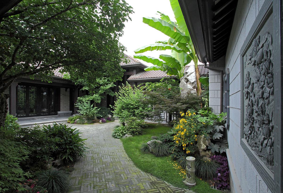 中式庭院庭院门头设计-中式带别墅小区设计-中式别墅庭院设计-中式别墅田园昌黎别墅图片
