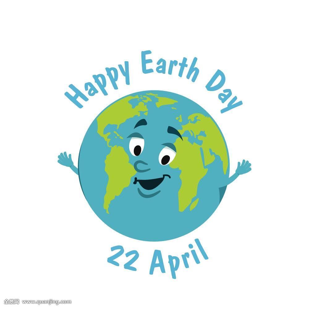 日�z-K�.K��ih~Z�~[�_地球日,滑稽,有趣,矢量,插画,地球,白色背景