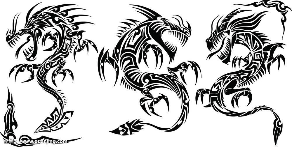 纹身,部族,龙,矢量图片
