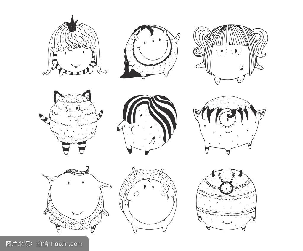 性格,地球,概述,线,儿童插画,矢量,幻想,素描,收集,装饰性的,简单的图片