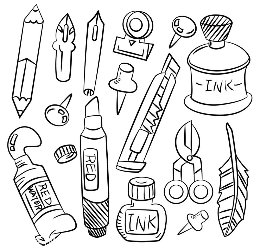 学习用品简笔画怎么画