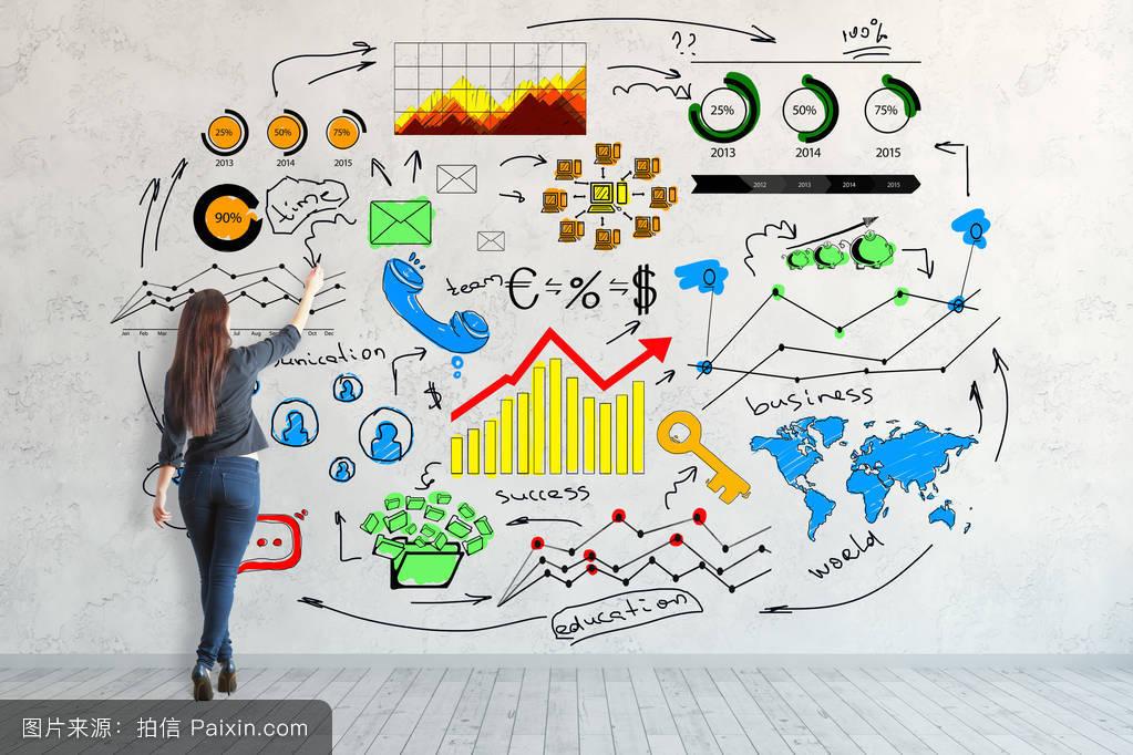 年轻女子的背影画在混凝土墙面上的创意商业素描.沟通的概念.3d渲染图片