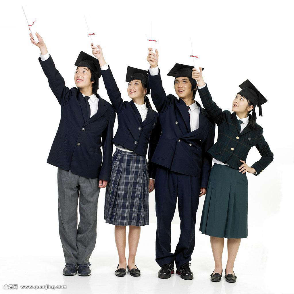 高中生,校服,男性,白色背景,亚洲人,人,人群,女性,全身,正面,手势图片