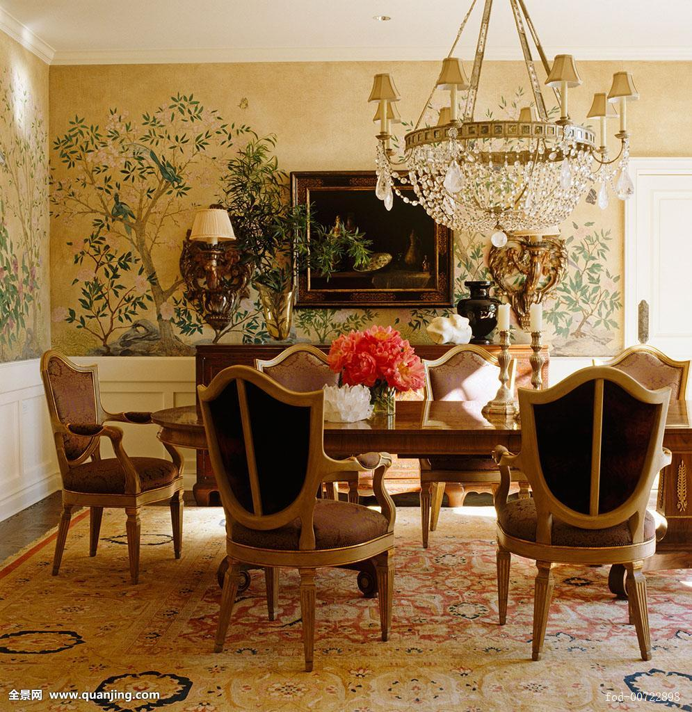 躺椅,彩色,就餐区,餐厅,餐桌,设备,摆饰,家具,金色,手绘,家居设计图片