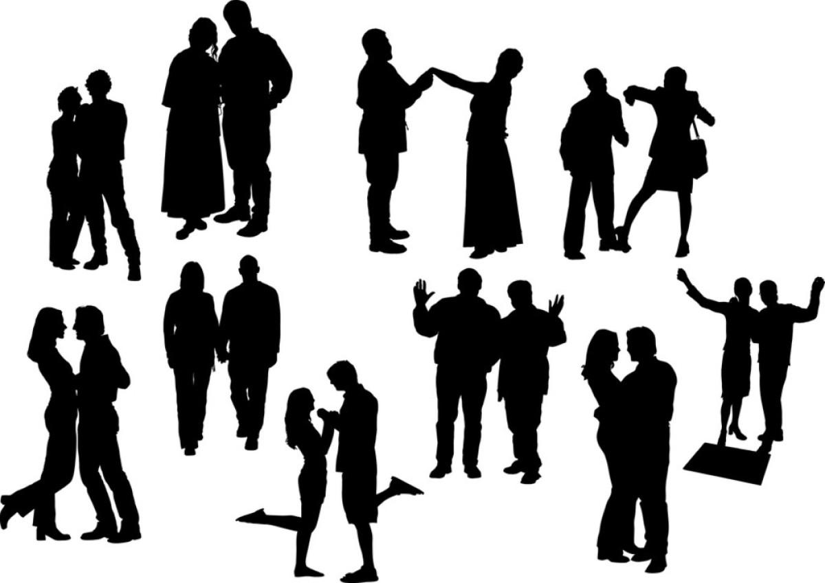 黑白十对情侣剪影图片