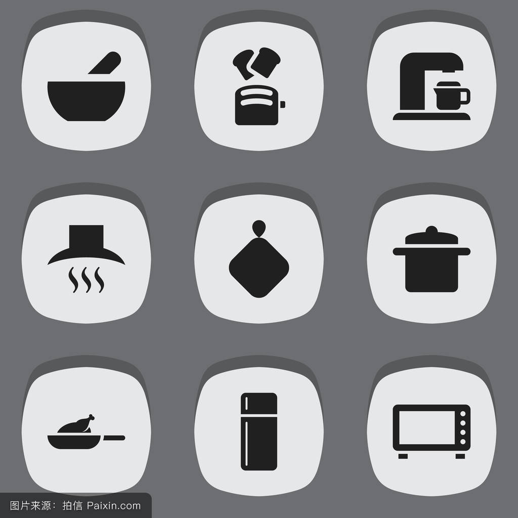 9个可编辑的库克图标集.包括符号,如汤,冰箱,炊具等.图片