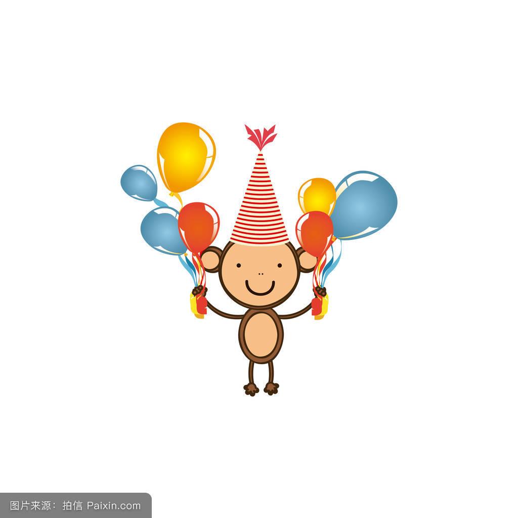 画猴子用什么颜色_在手方图标气球颜色的猴子
