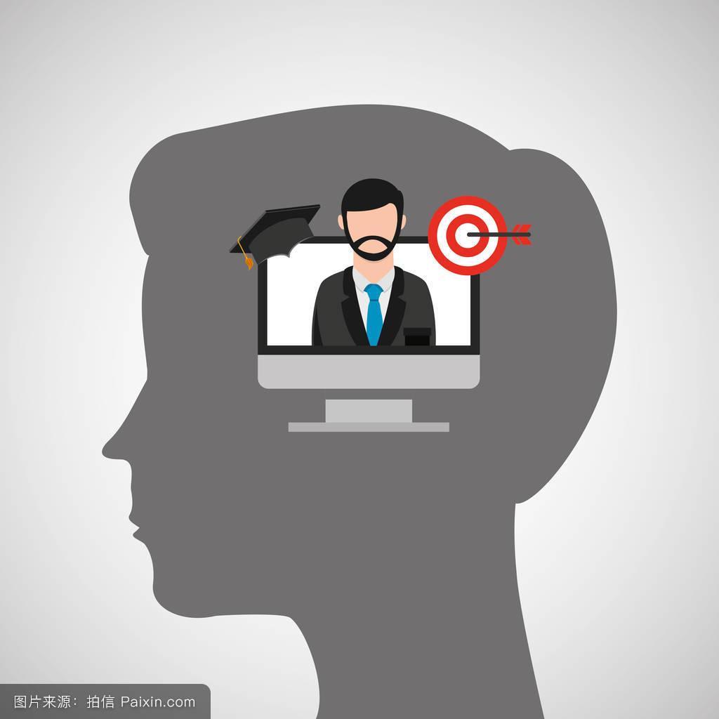 剪影头男孩笔记本标签中国教育在线