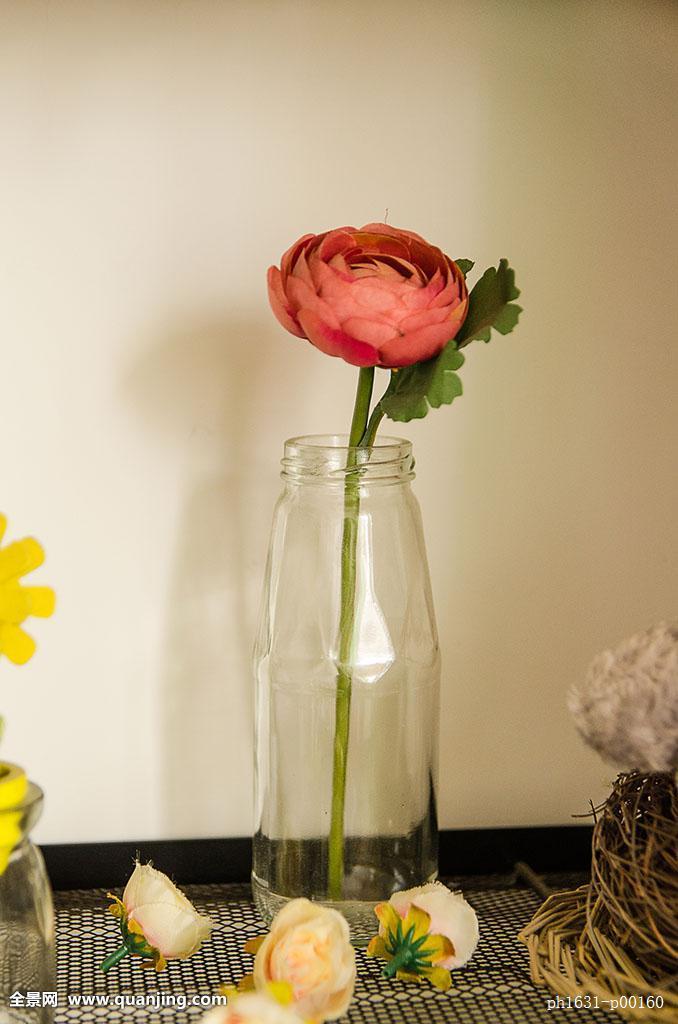 无人,特写,俯视,室内,花瓶,玻璃花瓶,玻璃,一枝花,家居,花,小清新,清图片