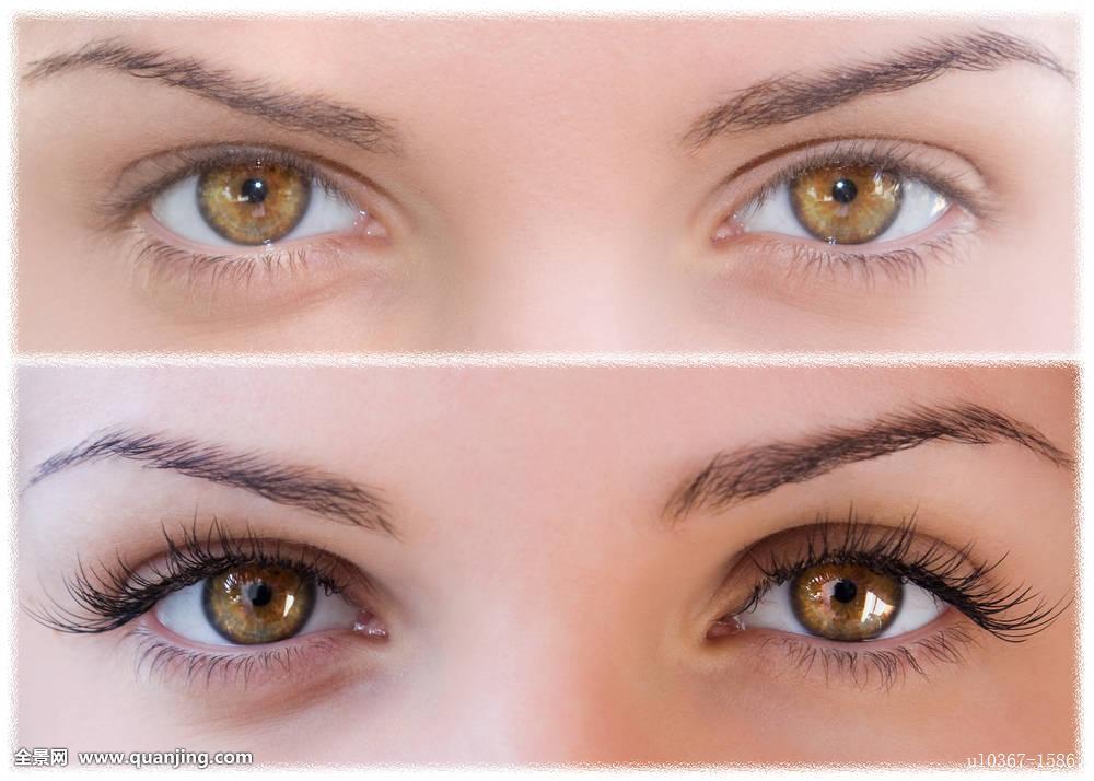 女人,皮肤,看,美女,眉毛,脸,睫毛膏,彩色,时尚,年轻,光泽,创意,眼影图片
