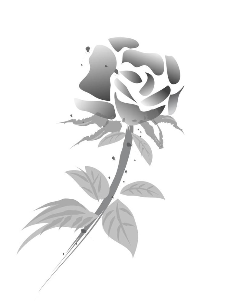 玫瑰花黑白画装饰画分享展示图片