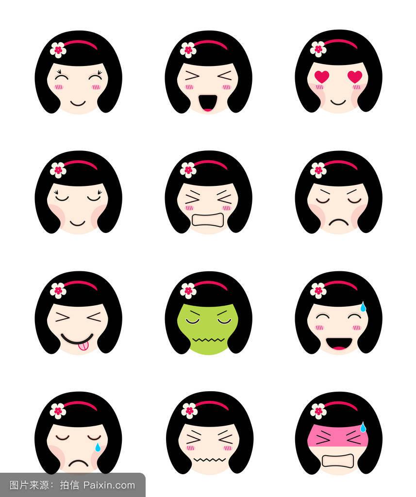 可爱的表情符号集.可爱的亚洲女孩面对不同的心情图片
