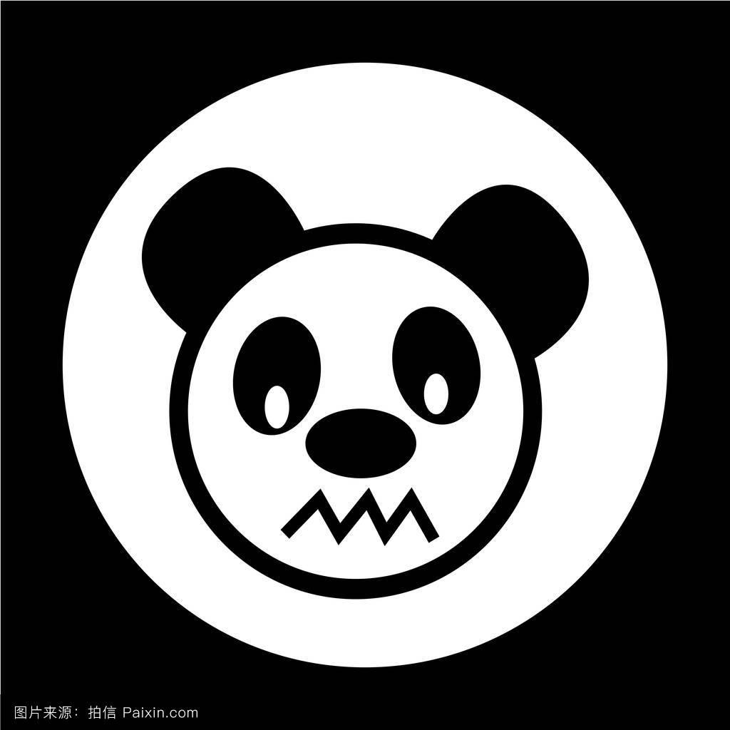 表情符号,面对,熊,头,矢量,简单的,异国情调的,吉祥物,可爱的,熊猫图片