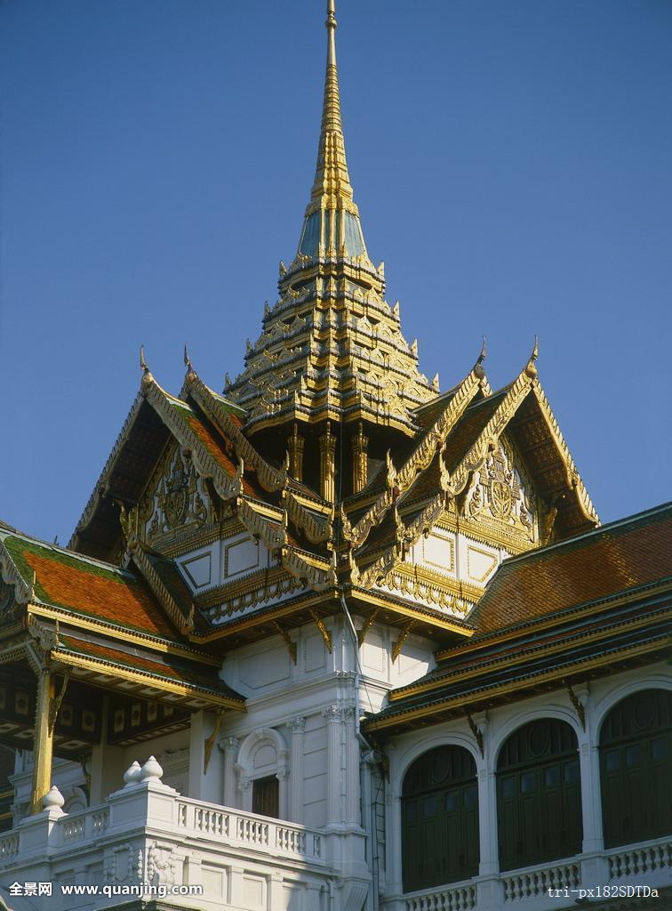 大皇宫,宫殿,传统,陡峭,屋顶,塔,黄金,装饰,东南亚,建筑,地区特色图片