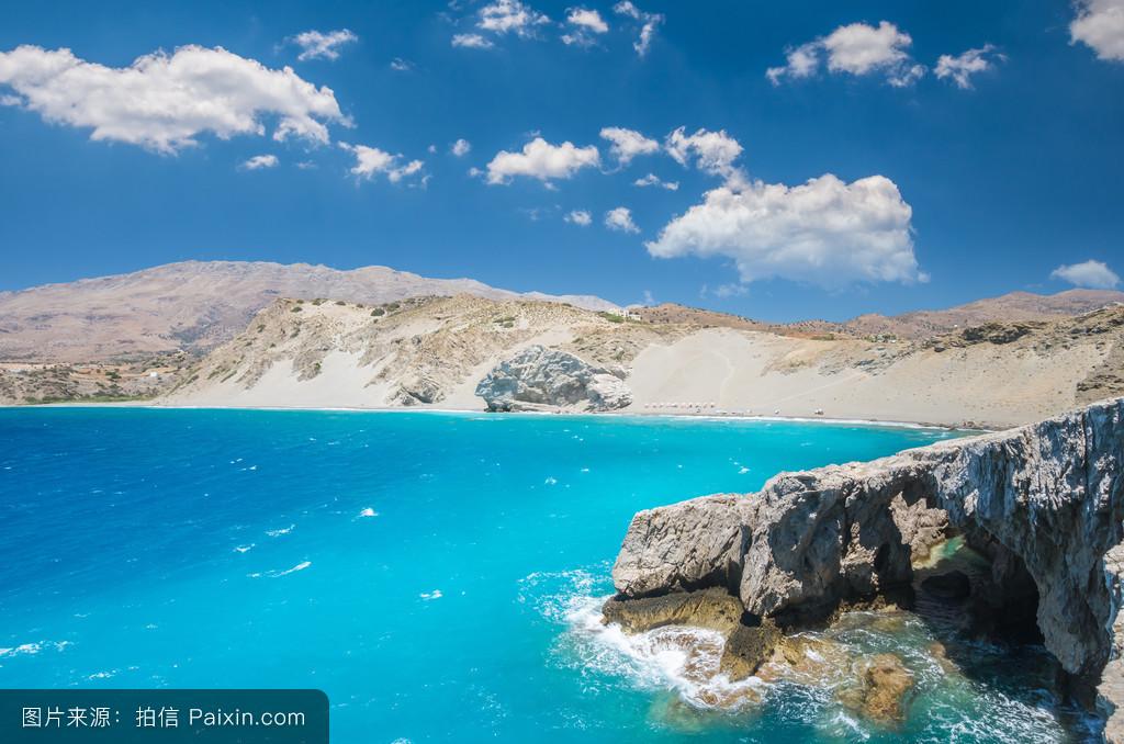 黑礹/&�b&9b�_地中海,蓝色,假期,帕夫洛斯,景观,基克拉泽斯群岛,黑砂,海湾,夏天,自