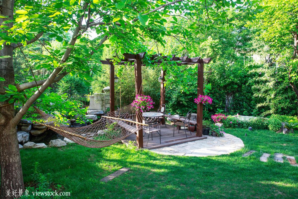 花园,庭院,私家花园,,建筑,户外,自然,树,中国,草地,吊床,别墅,绿色图片
