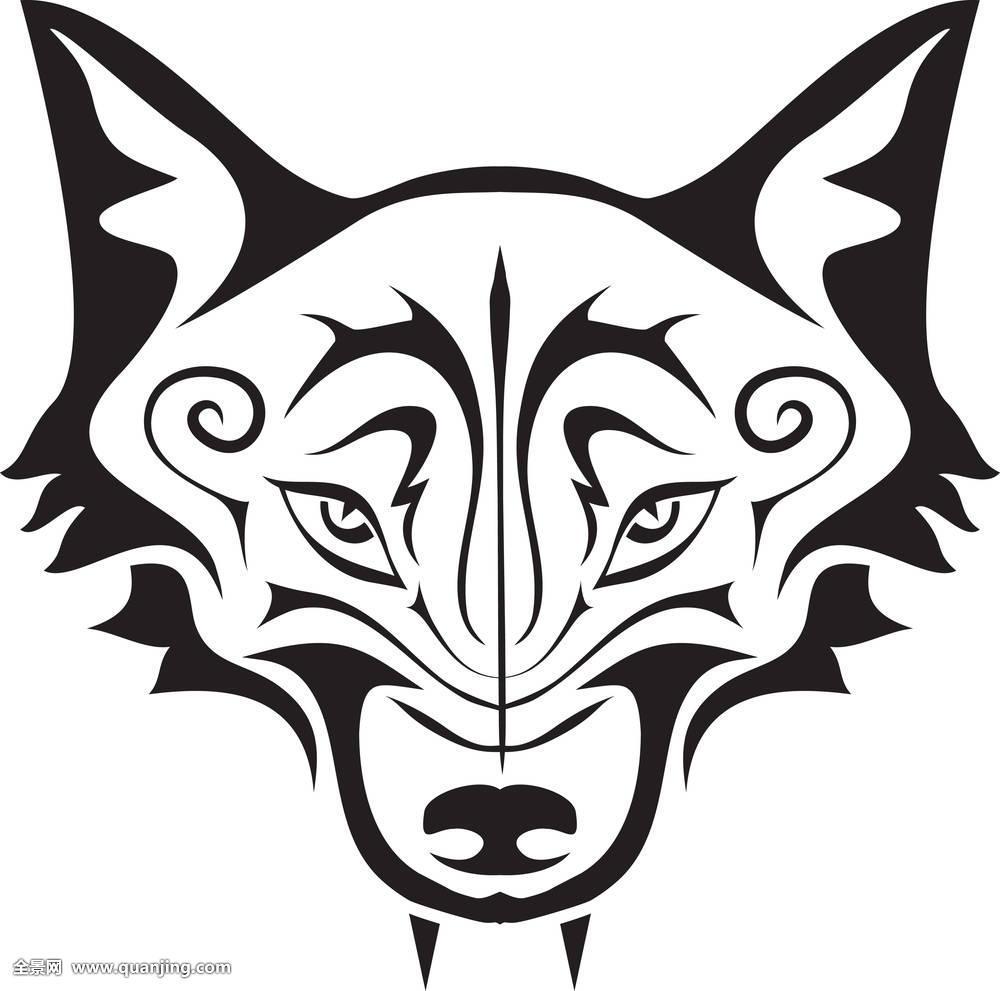 黑色,狼,纹身图片