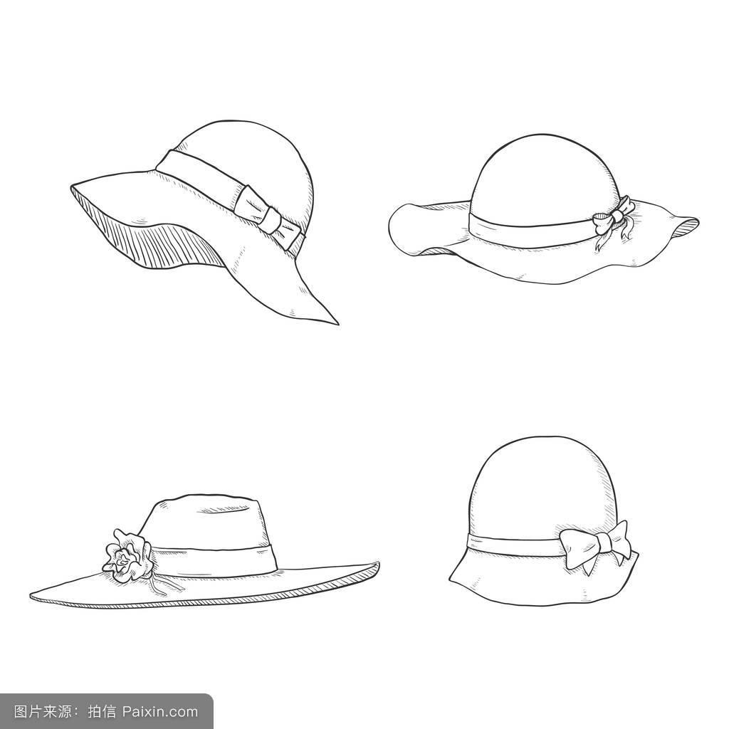 签名艺术设计帽套法国人衣服画用铅笔复古的帽子设置素描图片