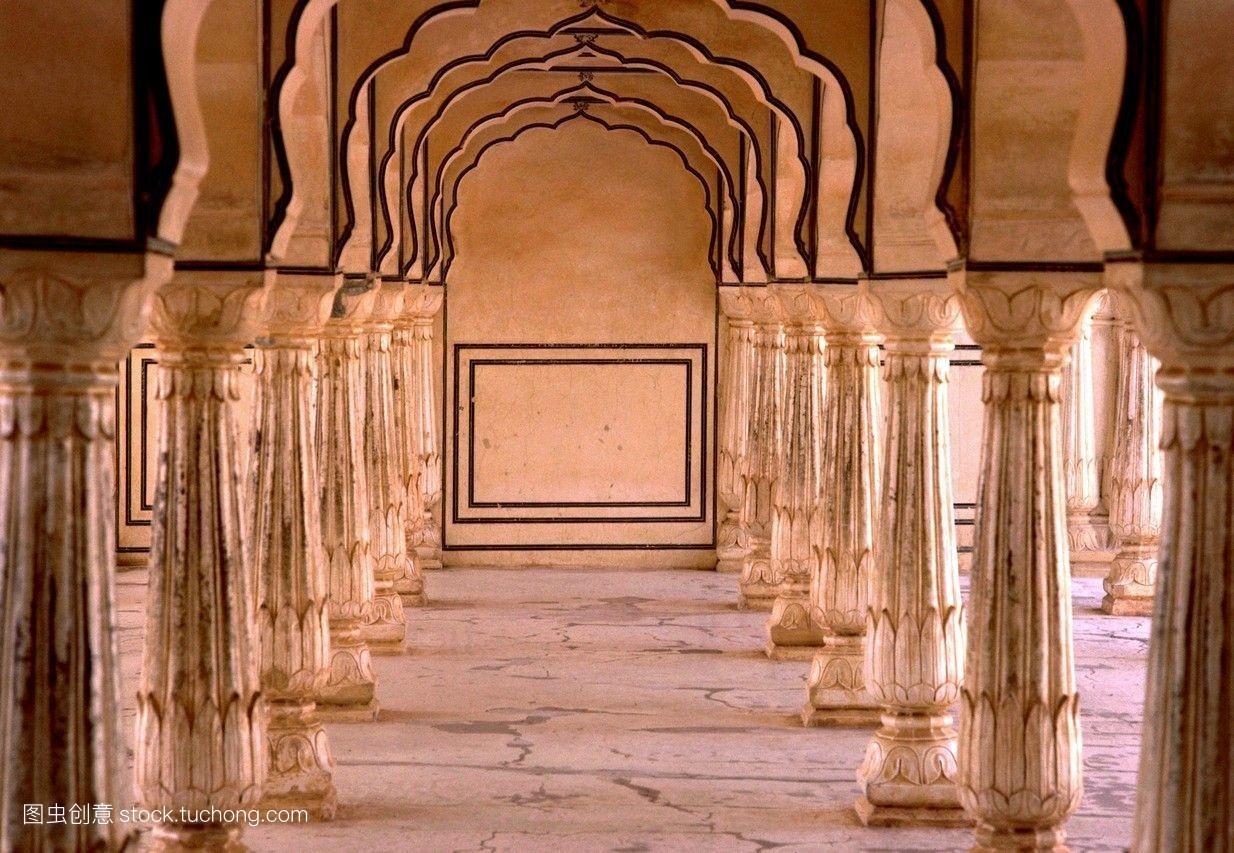 印度,琥珀色,议院,设计,室内,建筑,柱子,宫殿,琥珀,斋普尔图片