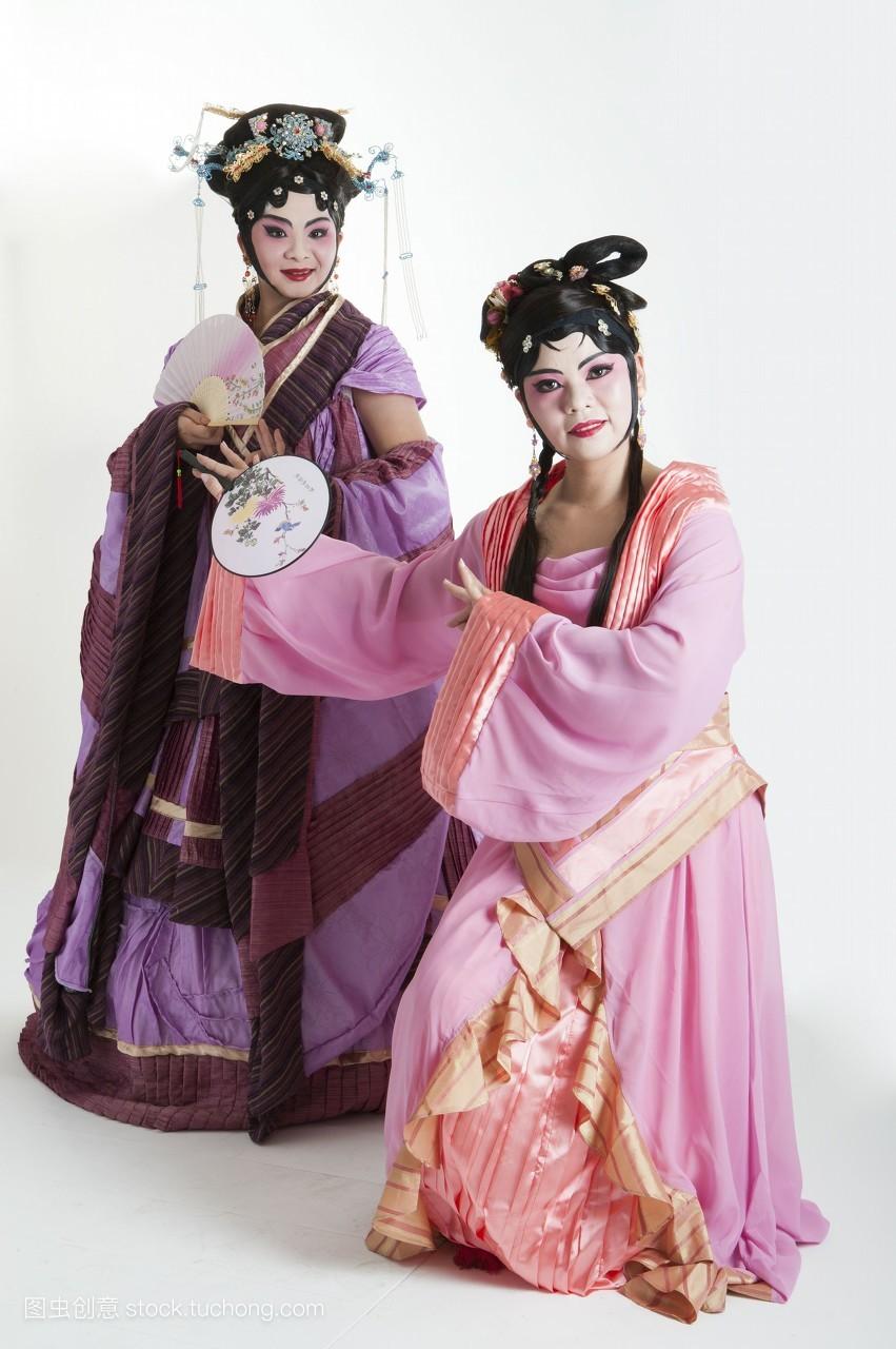 二个人,影像,女人,直图,只有成人,只有女人,舞台服,头饰,戏服,古装图片